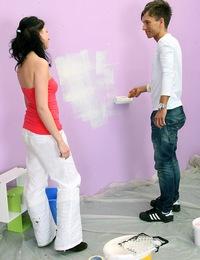Horny teenage beauty shagging the wall painter hardcore
