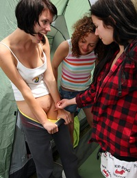Four hot teenage chicks love fondling cooters in a tent