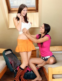 Two crazy hot horny teenage lesbians love sharing a bed