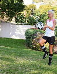Francesca,Soccer Star,Francesca sports knee-high socks shin guards and itsy-bitsy soccer shorts...